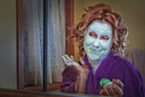 Lady with a clay mask
